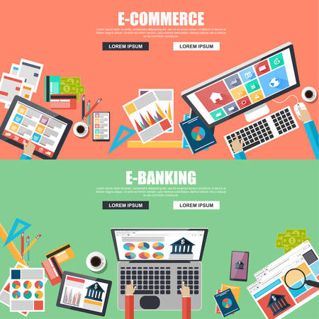 trade credit: Flat design concepts for e-commerce and e-banking