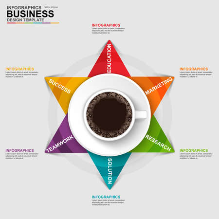 cofee cup: Abstract 3D digital business arrow Infographic