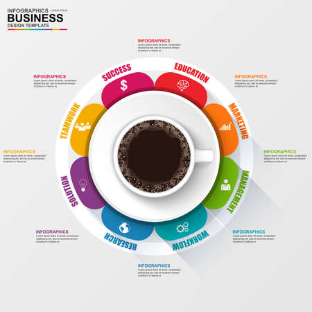 circle design: Abstract 3D digital business cofee cup Infographic Illustration