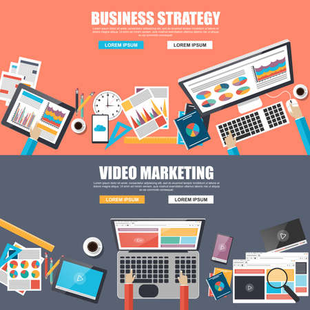 online icon: Flat design concepts for business strategy and video marketing Illustration