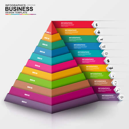 pyramids: Abstract 3D digital business Infographic
