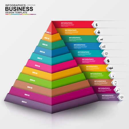 Abstrakt 3D Digital Business Infografik Standard-Bild - 44520221