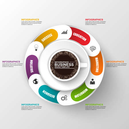 cofee cup: Abstract 3D digital business timeline Infographic with cofee cup Illustration