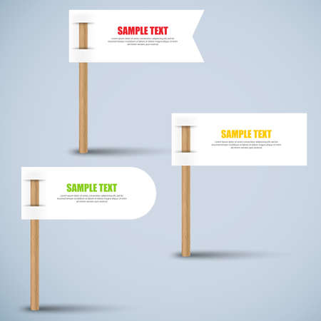 wooden stick: Set of white paper label on wooden stick