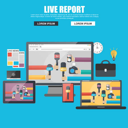 tv camera: Flat concept for live report, live news