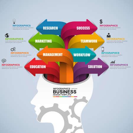 brain illustration: Abstract 3D digital business brain Infographic