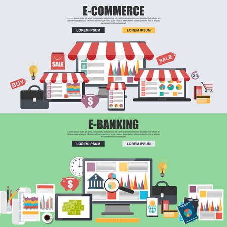 money market: Flat design concepts for e-commerce, e-shopping and e-banking Illustration