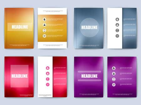 poster backgrounds: Set of business brochure with blur background Illustration
