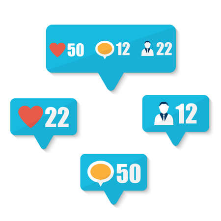Set of flat like, follower, comment icons