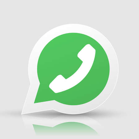 landline: Green phone handset in speech bubble vector icon