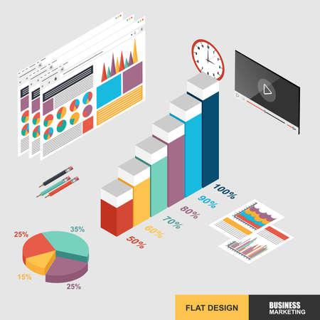 Flat 3d isometric design concept web marketing for data analysis