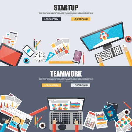consulting concept: Flat design concepts for teamwork and startup