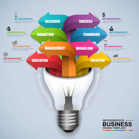 business marketing: Abstract 3D digital business light bulb Infographic Illustration
