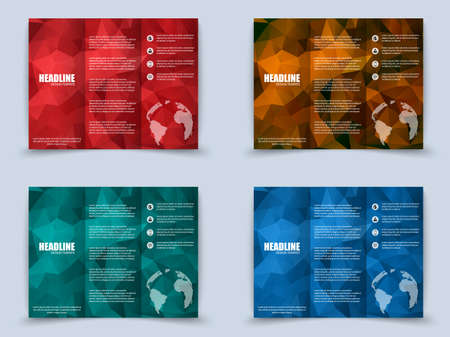 publisher: Collection of tri-fold brochure with polygonal background Illustration