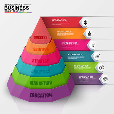 hexagon: Abstract 3D digital business pyramid Infographic