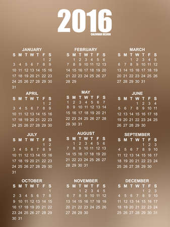 Calendar of 2016 with blurred background