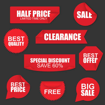 wrapped corner: Set of red paper sale stickers on black background