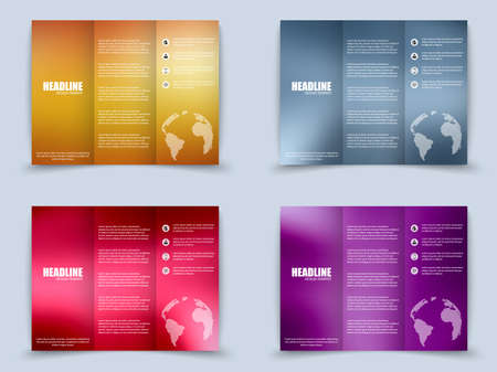 threefold: Set of tri-fold brochure with blurred background