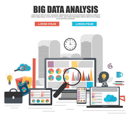 financial audit: Flat design concept of business big data analysis