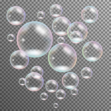 Realistic transparent multicolored soap bubbles isolated vector Vettoriali