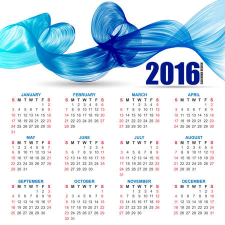 layout template: Calendar for 2016 on futuristic wavy background
