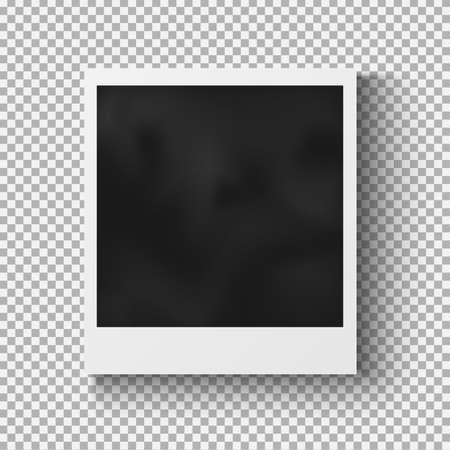 black and white photography: Realistic photo frame with shadow on plaid background
