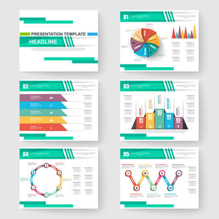 Set of presentation slide templates powerpoint and vector brochures