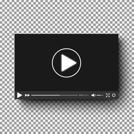 Realistic video player with shadow on plaid background