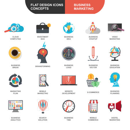 cloud icon: Set of flat design icons concept for marketing and strategy analysis