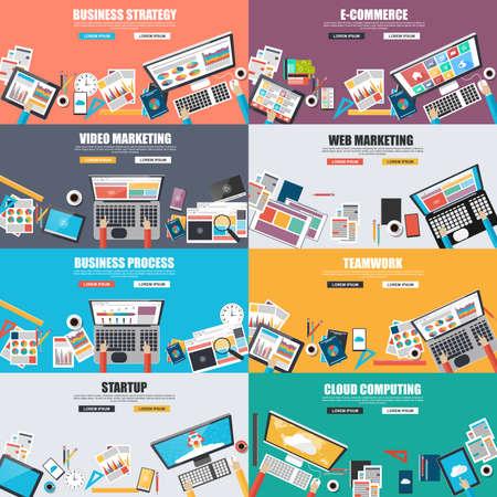 trabajo en equipo: Conjunto de concepto de diseño plano de la comercialización del negocio Vectores