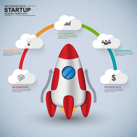 Abstract 3D digital business startup Infographic