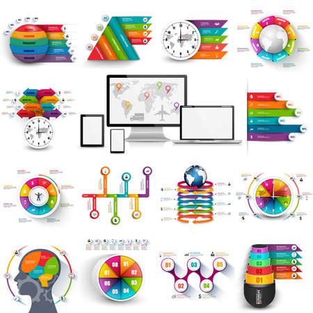Collection of infographic vector design template