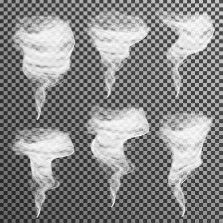 tornado: Realistic smoke vector on transparent background