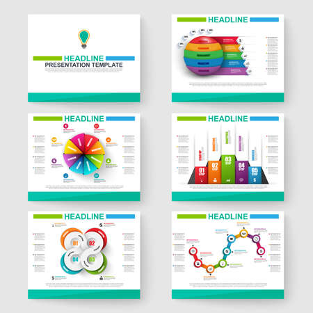 Set van multifunctionele presentatie infographic voor powerpoint