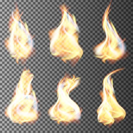 llamas de fuego: Realista llamas de fuego de vector de fondo transparente