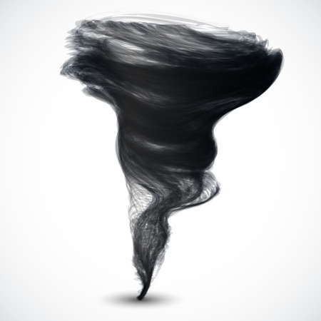 Realistic dark tornado isolated on white background