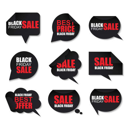 schwarz: Black Friday Sammlung realistische gekrümmt Papier Sprechblasen Illustration