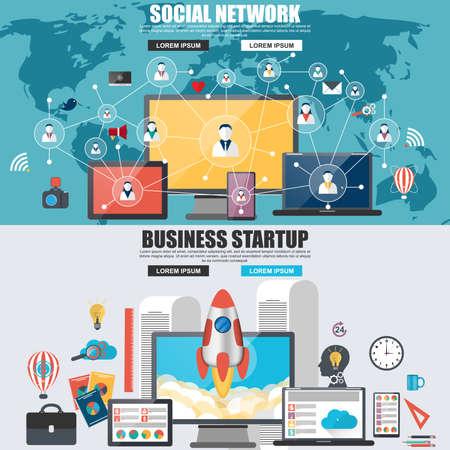 redes de mercadeo: Concepto de diseño plano de la red social, los servicios de medios de internet y el inicio de negocios