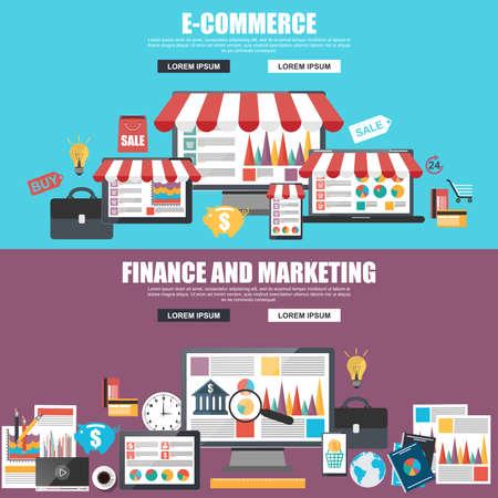 E コマース、マーケティング、戦略分析のためのフラット デザイン コンセプト