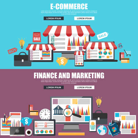 Flat design concepts for e-commerce, marketing and strategy analysis Stock Illustratie
