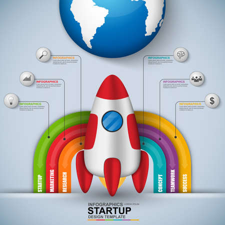 information technology: Abstract 3D digital business startup Infographic