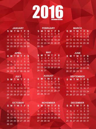 mon 12: Geometrical calendar of 2016 vector design template