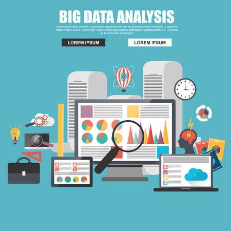 big: Concepto de diseño plano de los grandes análisis de datos de negocios