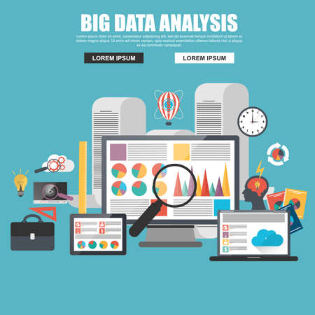 analyzing: Flat design concept of business big data analysis