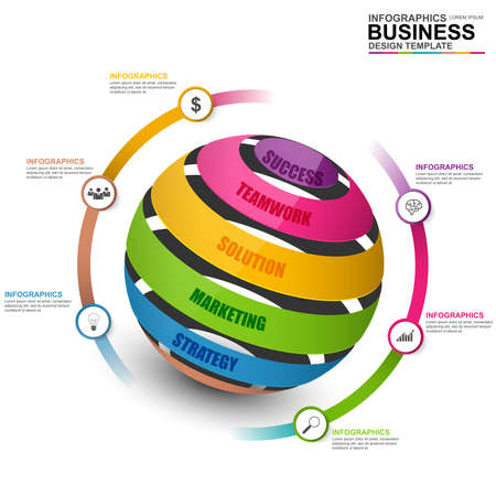 abstract business: Abstract 3D digital business marketing Infographic