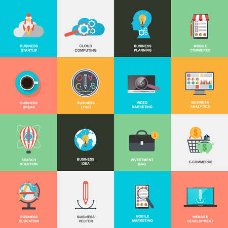 strategy: Set of flat design icons concept for marketing