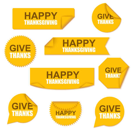 happy thanksgiving: Happy thanksgiving collection sale yellow curved paper stickers