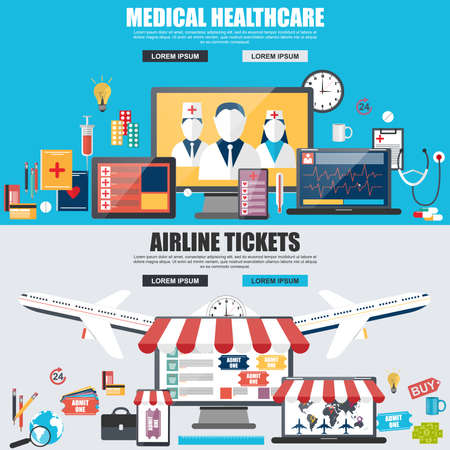 doctor and patient vector: Flat design concept for medical healthcare and airline Illustration