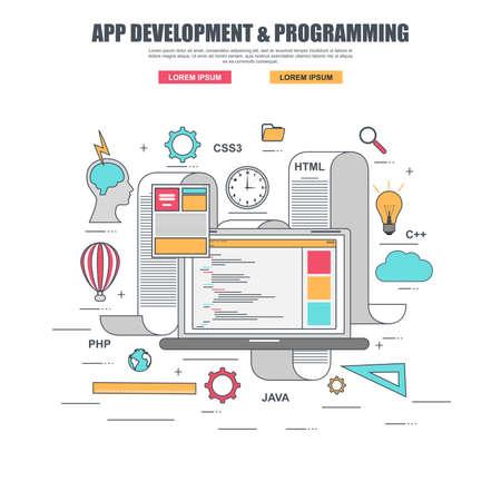 응용 프로그램 개발 및 생성 웹 사이트 프로그래밍 코드의 얇은 라인 평면 설계 개념