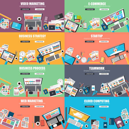 consultancy: Collection of flat design concept for business Illustration